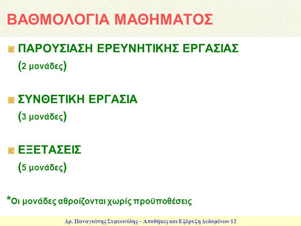 Δρ. Παναγιώτης Συμεωνίδης – Αποθήκες και Εξόρυξη Δεδομένων 12 ΒΑΘΜΟΛΟΓΙΑ ΜΑΘΗΜΑΤΟΣ ΠΑΡΟΥΣΙΑΣΗ ΕΡΕΥΝΗΤΙΚΗΣ ΕΡΓΑΣΙΑΣ ( 2 μονάδες ) ΣΥΝΘΕΤΙΚΗ ΕΡΓΑΣΙΑ ( 3