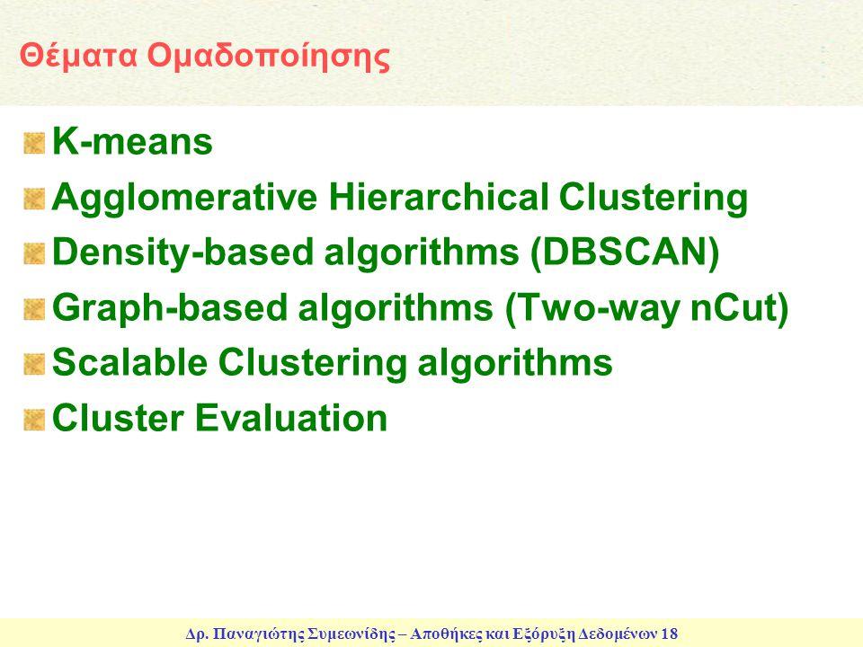 Δρ. Παναγιώτης Συμεωνίδης – Αποθήκες και Εξόρυξη Δεδομένων 18 Θέματα Ομαδοποίησης K-means Agglomerative Hierarchical Clustering Density-based algorith