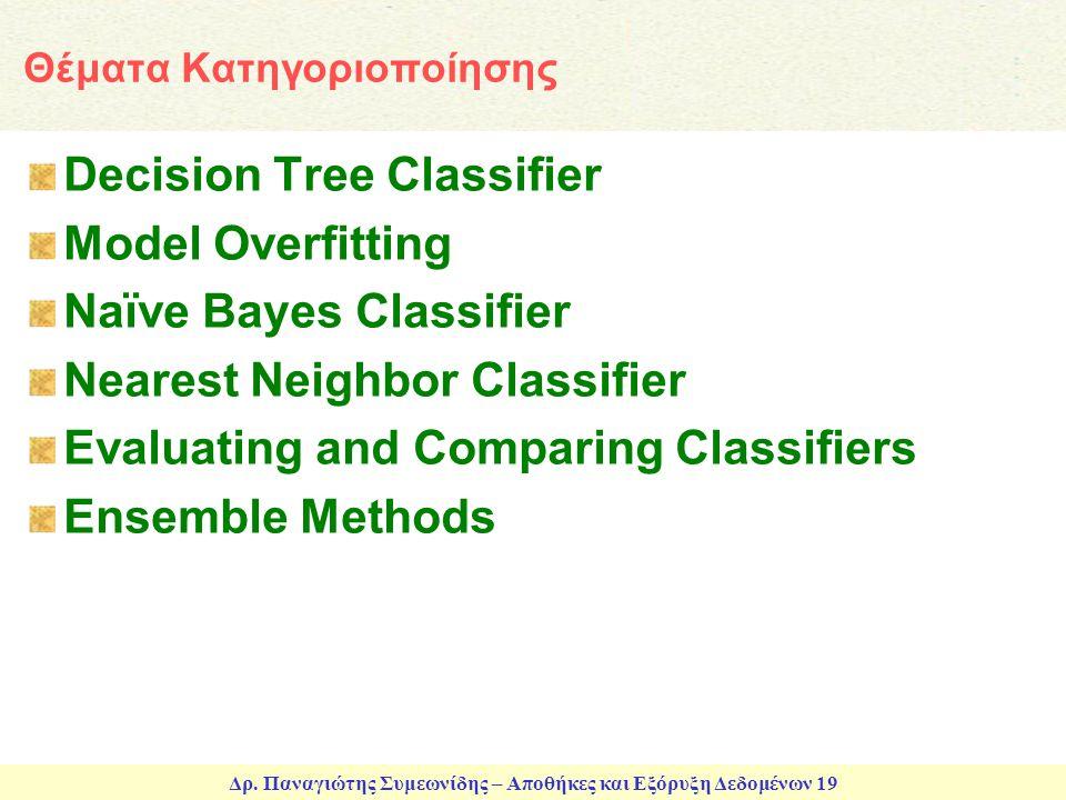 Δρ. Παναγιώτης Συμεωνίδης – Αποθήκες και Εξόρυξη Δεδομένων 19 Θέματα Κατηγοριοποίησης Decision Tree Classifier Model Overfitting Naïve Bayes Classifie