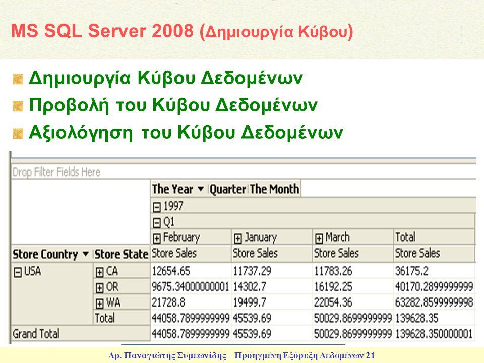 Δρ. Παναγιώτης Συμεωνίδης – Προηγμένη Εξόρυξη Δεδομένων 21 MS SQL Server 2008 ( Δημιουργία Κύβου ) Δημιουργία Κύβου Δεδομένων Προβολή του Κύβου Δεδομέ