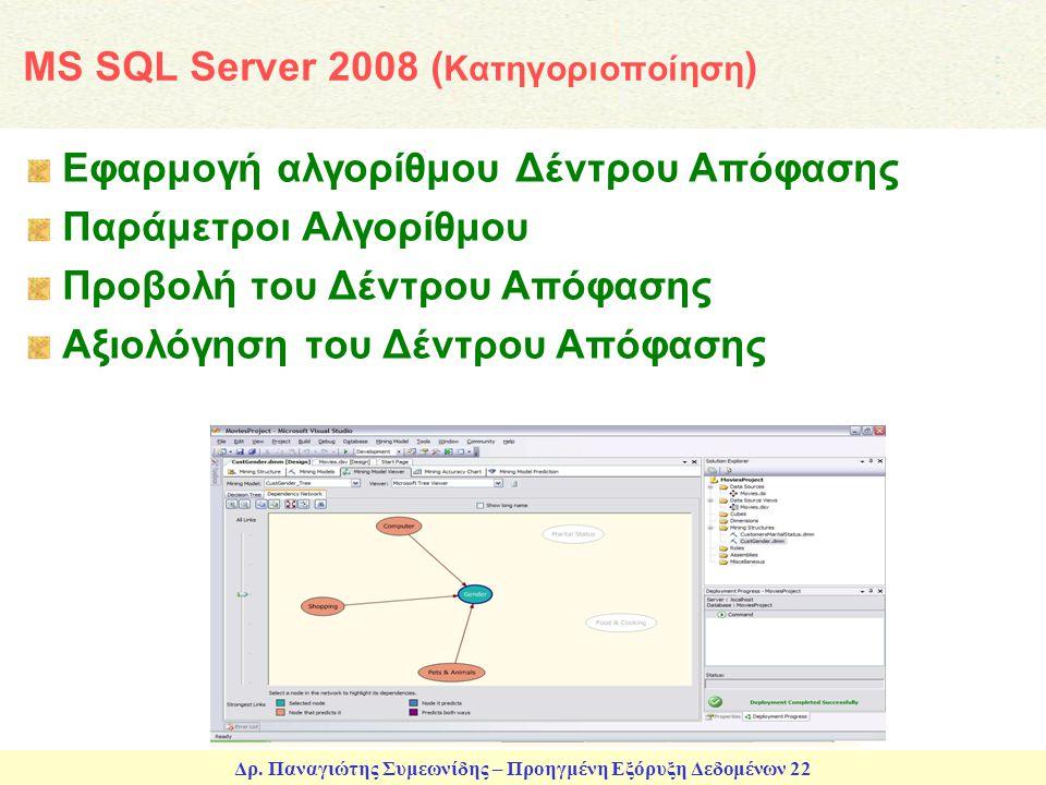 Δρ. Παναγιώτης Συμεωνίδης – Προηγμένη Εξόρυξη Δεδομένων 22 MS SQL Server 2008 ( Κατηγοριοποίηση ) Εφαρμογή αλγορίθμου Δέντρου Απόφασης Παράμετροι Αλγο