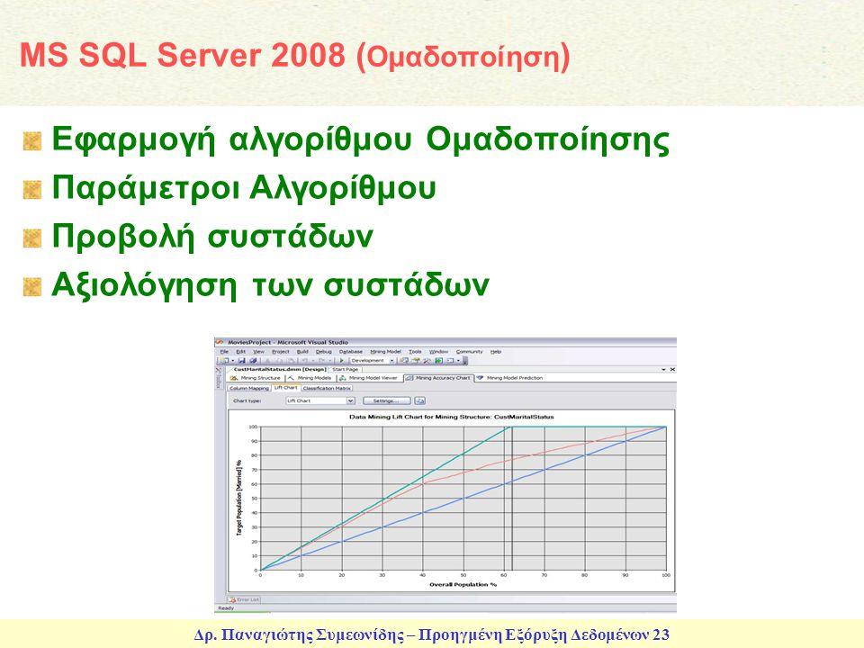 Δρ. Παναγιώτης Συμεωνίδης – Προηγμένη Εξόρυξη Δεδομένων 23 MS SQL Server 2008 ( Ομαδοποίηση ) Εφαρμογή αλγορίθμου Ομαδοποίησης Παράμετροι Αλγορίθμου Π