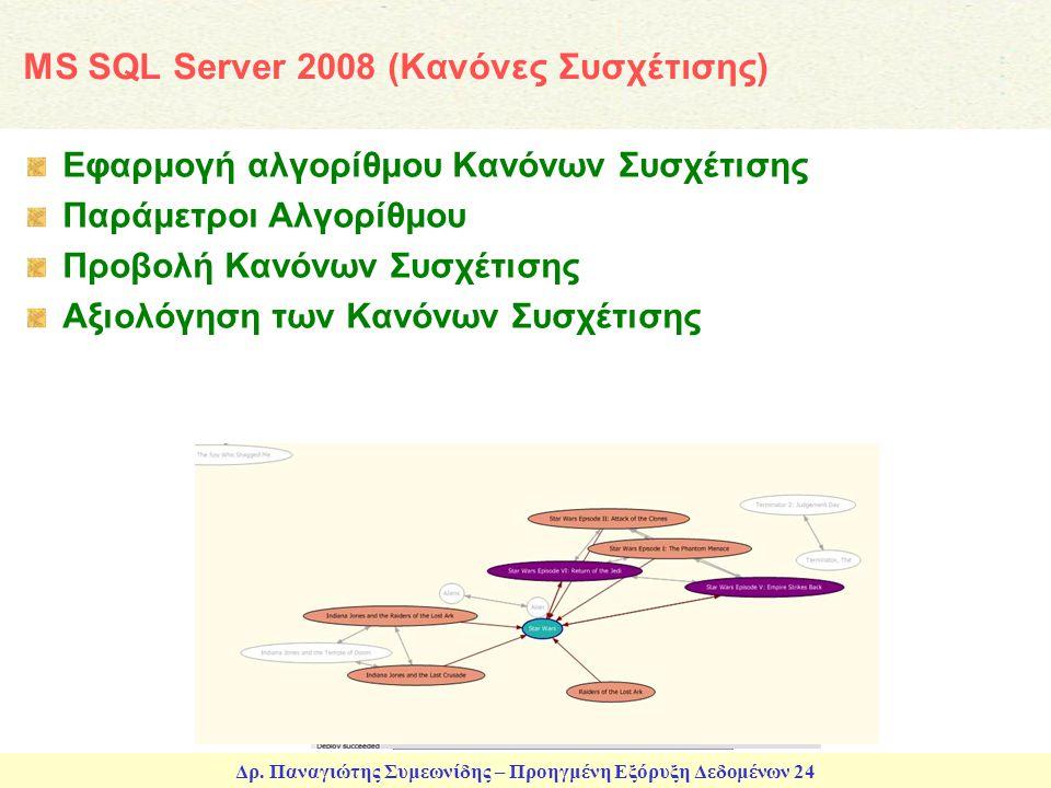 Δρ. Παναγιώτης Συμεωνίδης – Προηγμένη Εξόρυξη Δεδομένων 24 MS SQL Server 2008 (Κανόνες Συσχέτισης) Εφαρμογή αλγορίθμου Κανόνων Συσχέτισης Παράμετροι Α