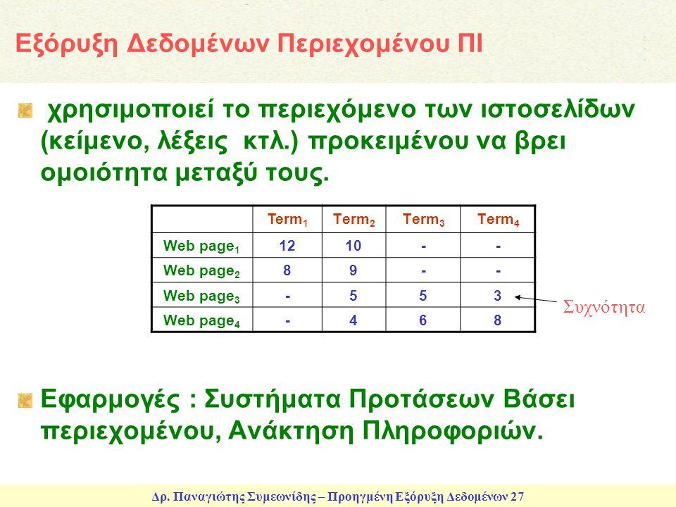 Δρ. Παναγιώτης Συμεωνίδης – Προηγμένη Εξόρυξη Δεδομένων 27 Εξόρυξη Δεδομένων Περιεχομένου ΠΙ χρησιμοποιεί το περιεχόμενο των ιστοσελίδων (κείμενο, λέξ