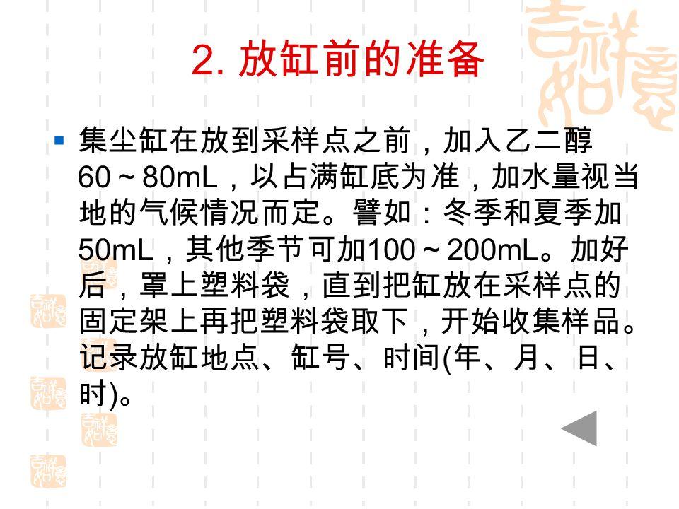 2. 放缸前的准备  集尘缸在放到采样点之前,加入乙二醇 60 ~ 80mL ,以占满缸底为准,加水量视当 地的气候情况而定。譬如:冬季和夏季加 50mL ,其他季节可加 100 ~ 200mL 。加好 后,罩上塑料袋,直到把缸放在采样点的 固定架上再把塑料袋取下,开始收集样品。 记录放缸地点、缸