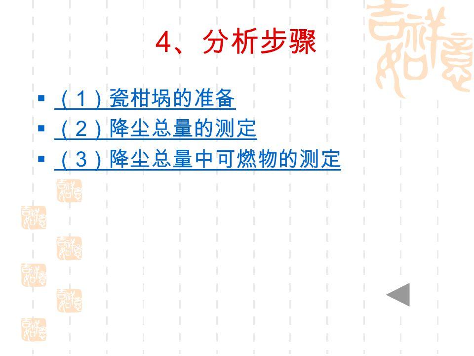 4 、分析步骤  ( 1 )瓷柑埚的准备 ( 1 )瓷柑埚的准备  ( 2 )降尘总量的测定 ( 2 )降尘总量的测定  ( 3 )降尘总量中可燃物的测定 ( 3 )降尘总量中可燃物的测定