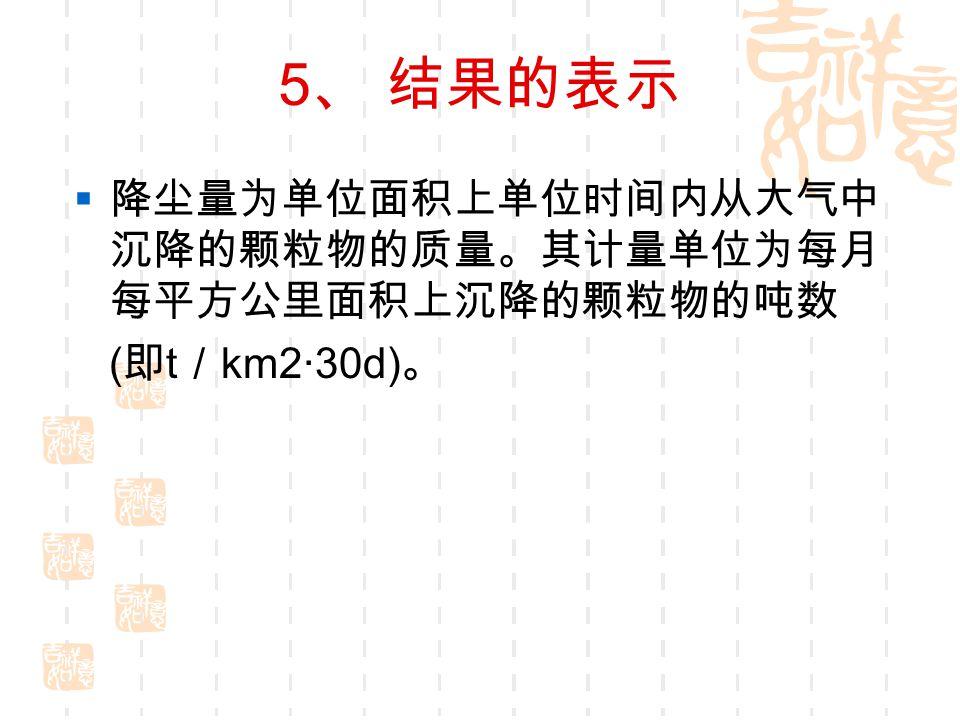 5 、 结果的表示  降尘量为单位面积上单位时间内从大气中 沉降的颗粒物的质量。其计量单位为每月 每平方公里面积上沉降的颗粒物的吨数 ( 即 t / km2·30d) 。