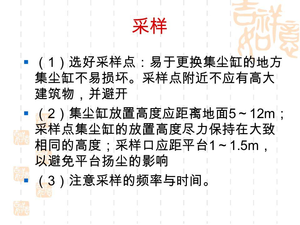 采样  ( 1 )选好采样点:易于更换集尘缸的地方 集尘缸不易损坏。采样点附近不应有高大 建筑物,并避开  ( 2 )集尘缸放置高度应距离地面 5 ~ 12m ; 采样点集尘缸的放置高度尽力保持在大致 相同的高度;采样口应距平台 1 ~ 1.5m , 以避免平台扬尘的影响  ( 3 )注意采样