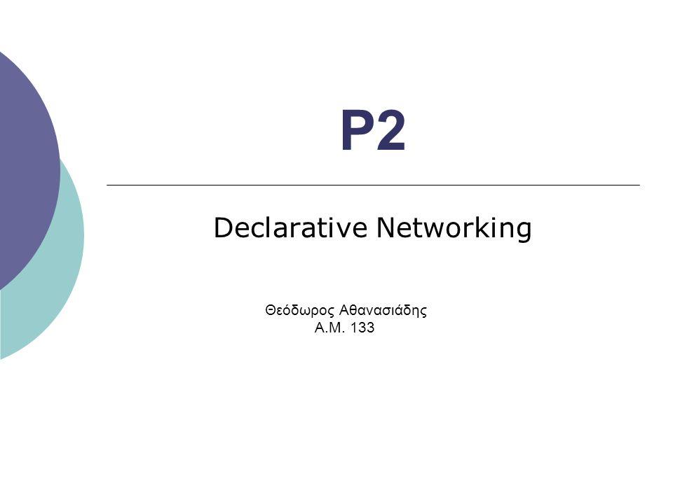 P2 Declarative Networking Θεόδωρος Αθανασιάδης Α.Μ. 133