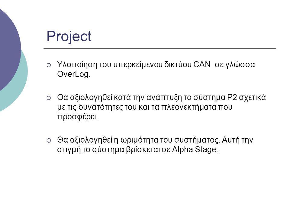 Project  Υλοποίηση του υπερκείμενου δικτύου CAN σε γλώσσα OverLog.  Θα αξιολογηθεί κατά την ανάπτυξη το σύστημα P2 σχετικά με τις δυνατότητες του κα