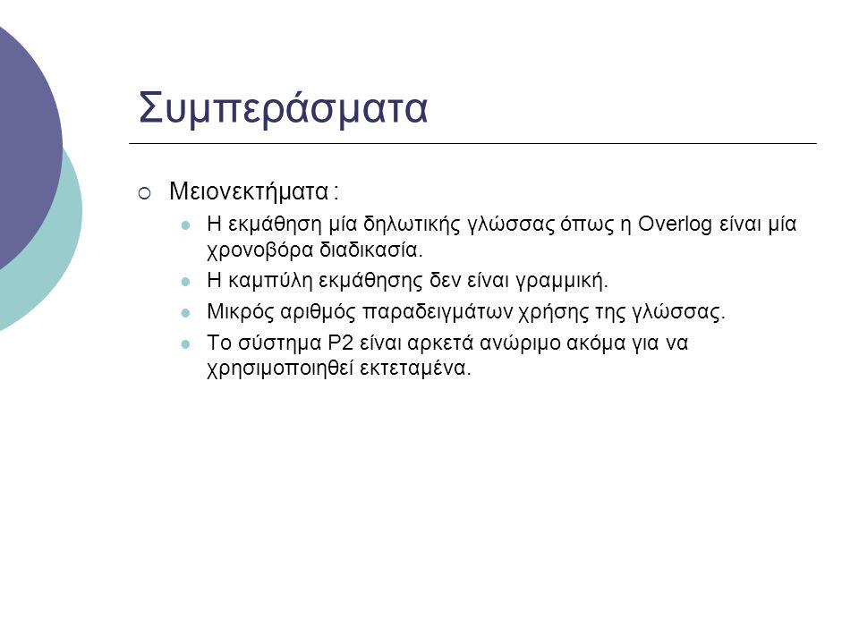 Συμπεράσματα  Μειονεκτήματα : Η εκμάθηση μία δηλωτικής γλώσσας όπως η Overlog είναι μία χρονοβόρα διαδικασία.