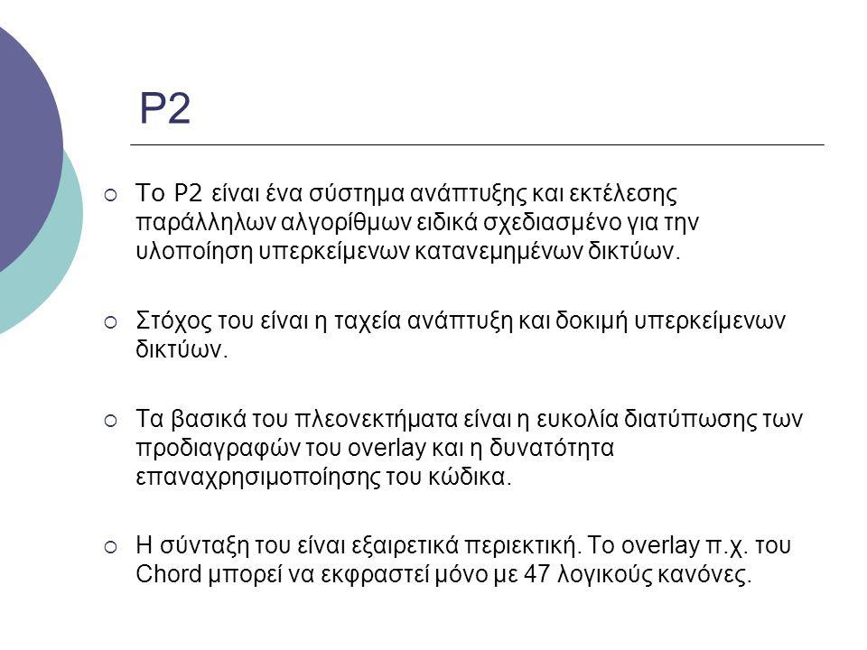 P2  To P2 είναι ένα σύστημα ανάπτυξης και εκτέλεσης παράλληλων αλγορίθμων ειδικά σχεδιασμένο για την υλοποίηση υπερκείμενων κατανεμημένων δικτύων. 