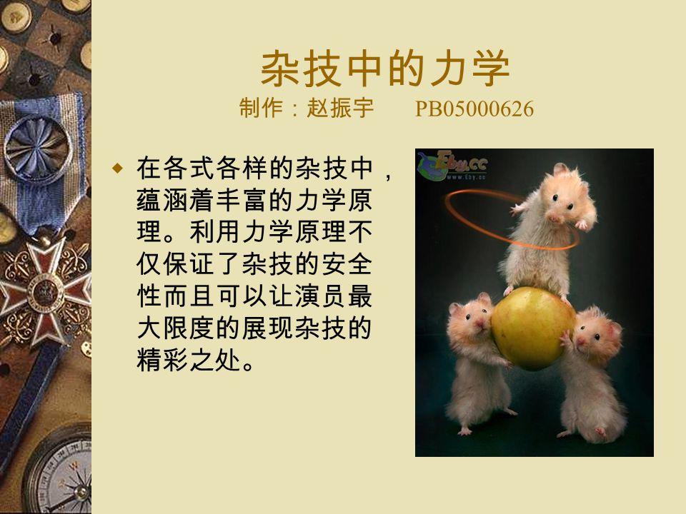 杂技中的力学 制作:赵振宇 PB05000626  在各式各样的杂技中, 蕴涵着丰富的力学原 理。利用力学原理不 仅保证了杂技的安全 性而且可以让演员最 大限度的展现杂技的 精彩之处。