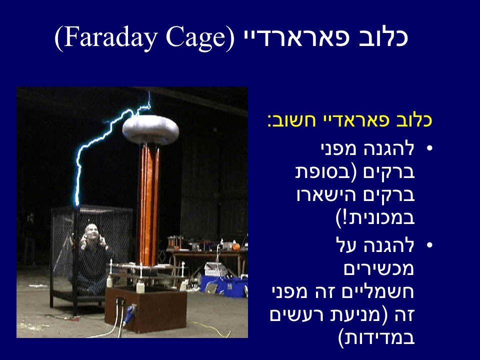 כלוב פאראדיי חשוב : להגנה מפני ברקים ( בסופת ברקים הישארו במכונית !) להגנה על מכשירים חשמליים זה מפני זה ( מניעת רעשים במדידות ) כלוב פארארדיי (Faraday Cage)