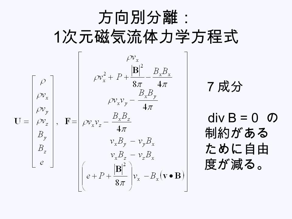 方向別分離: 1 次元磁気流体力学方程式 7成分 div B = 0 の 制約がある ために自由 度が減る。