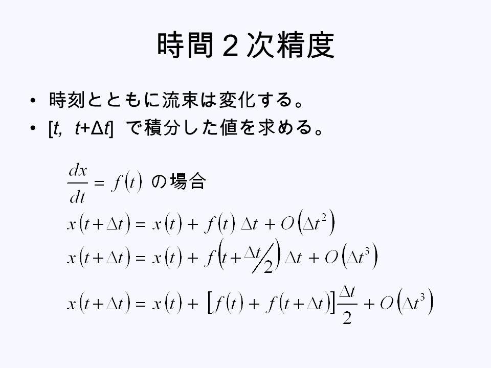 時間2次精度 時刻とともに流束は変化する。 [t, t+Δt] で積分した値を求める。