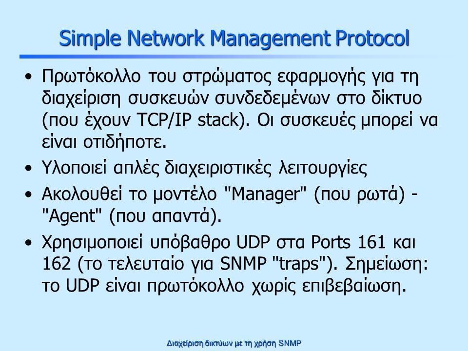 Διαχείριση δικτύων με τη χρήση SNMP Μοντέλο διαχείρισης SNMP query Query response Trap to the manager Σύστημα συνδεμένο στο δίκτυο που μπορεί να εκτελεί οποιαδήποτε εργασία Network Management Station (NMS)