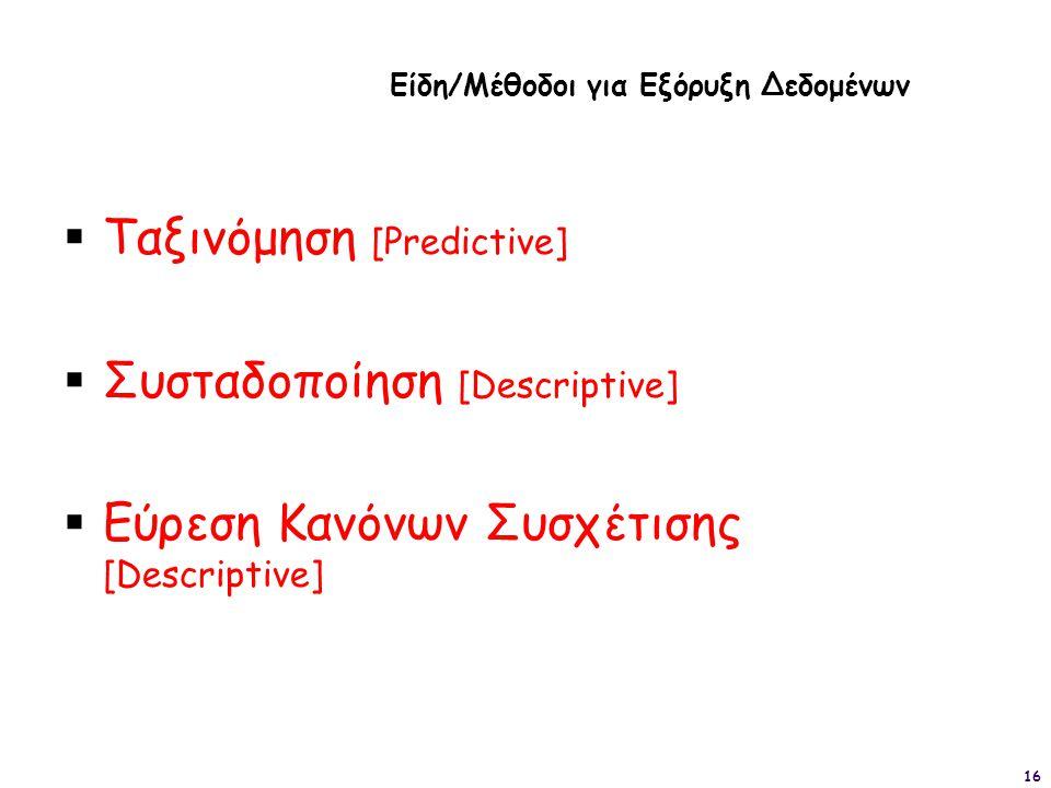 16  Ταξινόμηση [Predictive]  Συσταδοποίηση [Descriptive]  Εύρεση Κανόνων Συσχέτισης [Descriptive] Είδη/Μέθοδοι για Εξόρυξη Δεδομένων