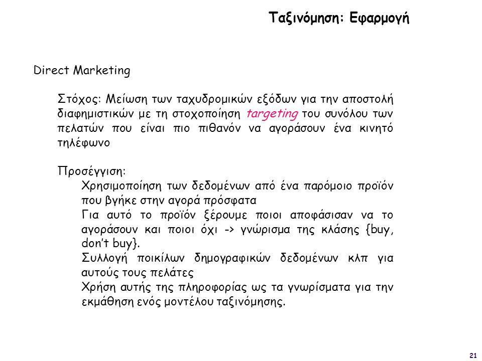 21 Ταξινόμηση: Εφαρμογή Direct Marketing Στόχος: Μείωση των ταχυδρομικών εξόδων για την αποστολή διαφημιστικών με τη στοχοποίηση targeting του συνόλου