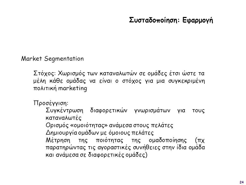 24 Συσταδοποίηση: Εφαρμογή Market Segmentation Στόχος: Χωρισμός των καταναλωτών σε ομάδες έτσι ώστε τα μέλη κάθε ομάδας να είναι ο στόχος για μια συγκ