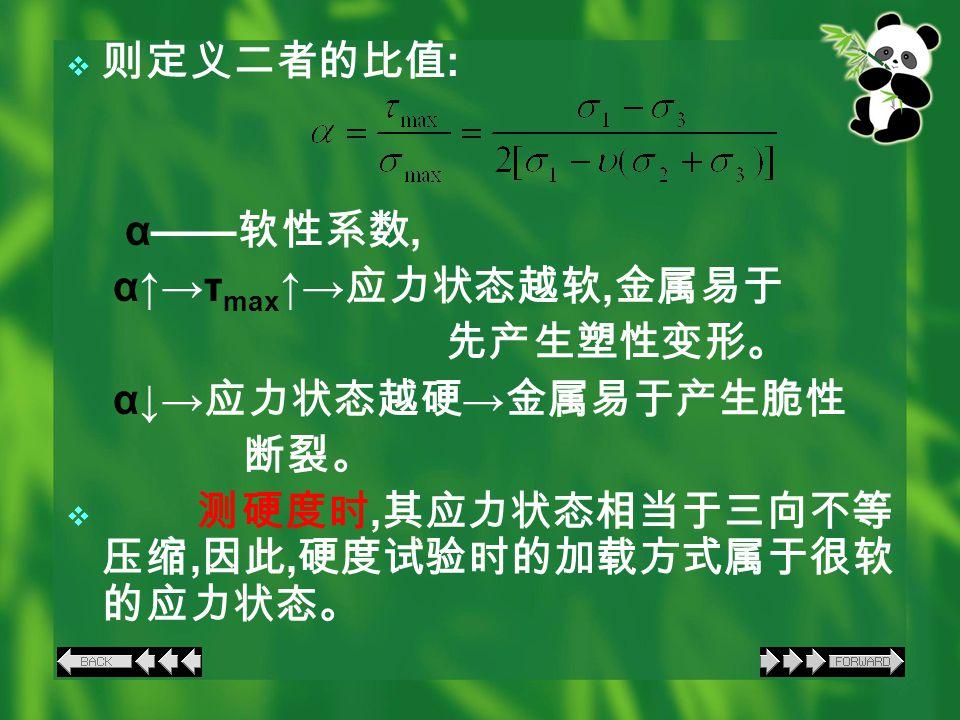  则定义二者的比值 : α—— 软性系数, α↑→τ max ↑→ 应力状态越软, 金属易于 先产生塑性变形。 α↓→ 应力状态越硬 → 金属易于产生脆性 断裂。  测硬度时, 其应力状态相当于三向不等 压缩, 因此, 硬度试验时的加载方式属于很软 的应力状态。