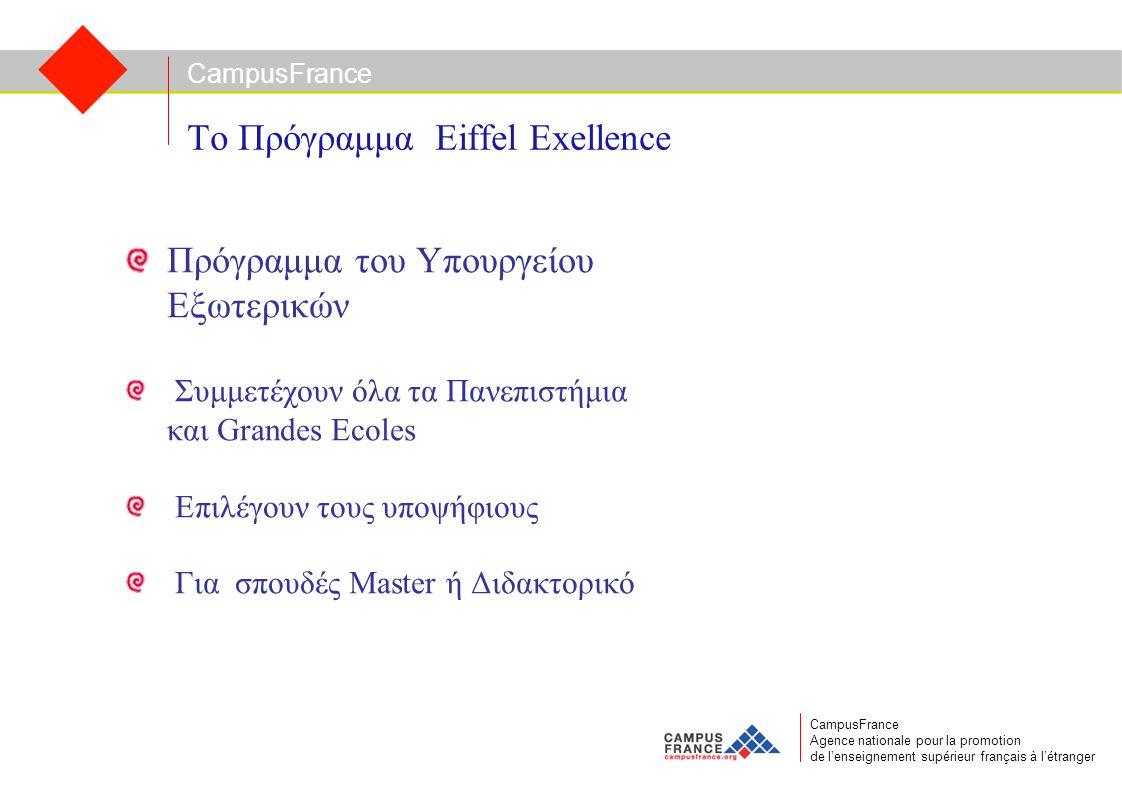 CampusFrance CampusFrance Agence nationale pour la promotion de l'enseignement supérieur français à l'étranger Το Πρόγραμμα Eiffel Exellence Πρόγραμμα