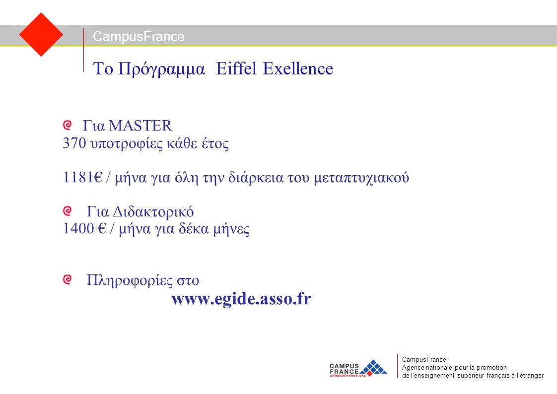 CampusFrance CampusFrance Agence nationale pour la promotion de l'enseignement supérieur français à l'étranger Το Πρόγραμμα Eiffel Exellence Για MASTE
