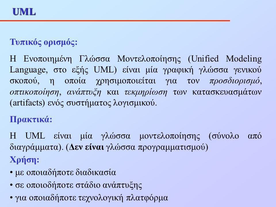UML Τυπικός ορισμός: Η Ενοποιημένη Γλώσσα Μοντελοποίησης (Unified Modeling Language, στο εξής UML) είναι μία γραφική γλώσσα γενικού σκοπού, η οποία χρ