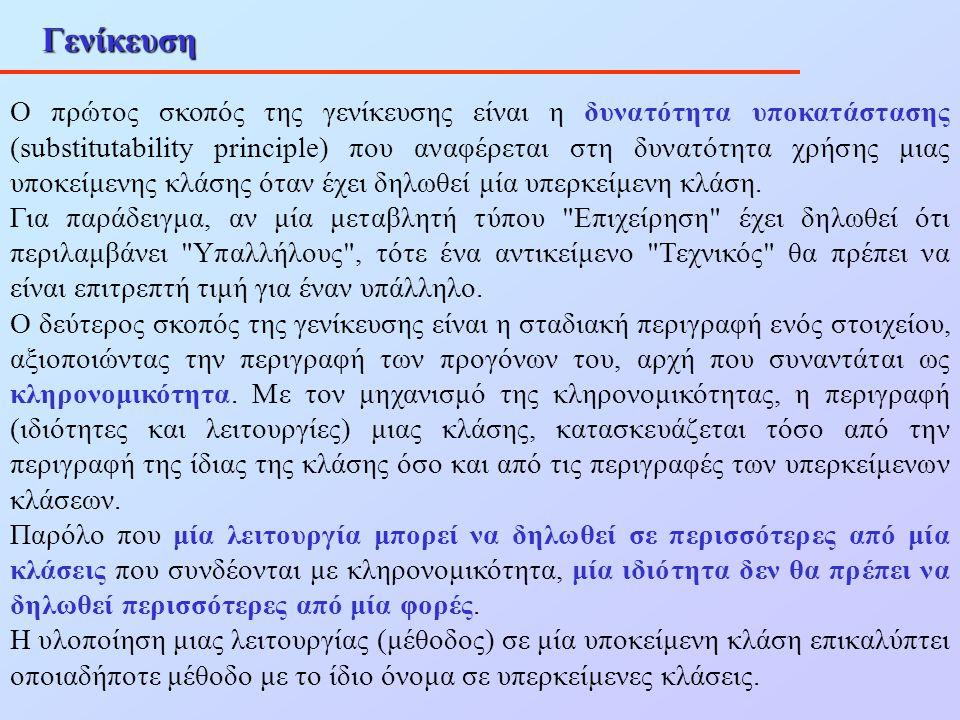 Γενίκευση Ο πρώτος σκοπός της γενίκευσης είναι η δυνατότητα υποκατάστασης (substitutability principle) που αναφέρεται στη δυνατότητα χρήσης μιας υποκε