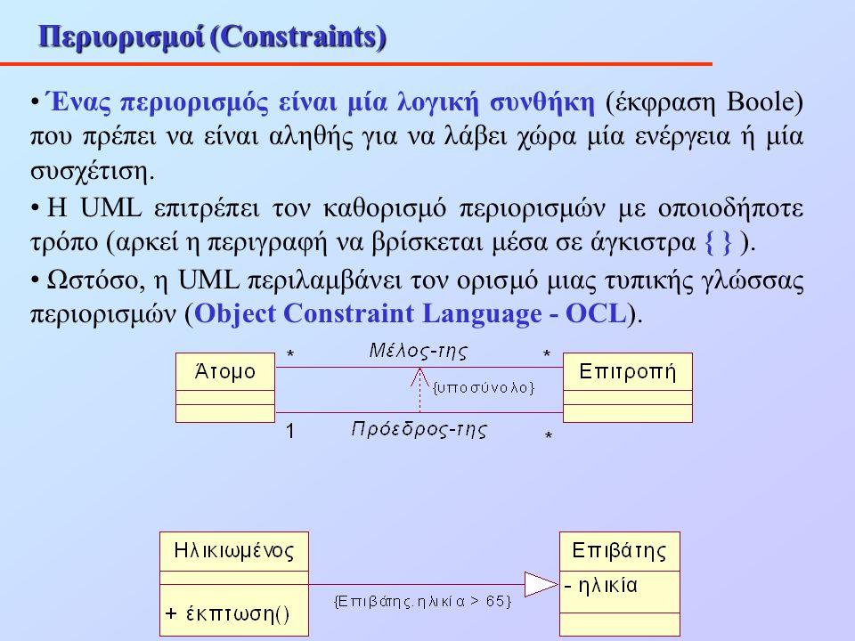 Περιορισμοί (Constraints) Ένας περιορισμός είναι μία λογική συνθήκη (έκφραση Boole) που πρέπει να είναι αληθής για να λάβει χώρα μία ενέργεια ή μία συ
