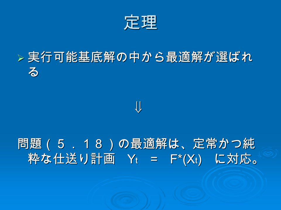 定理  実行可能基底解の中から最適解が選ばれ る  問題(5.18)の最適解は、定常かつ純 粋な仕送り計画 Y t = F*(X t ) に対応。
