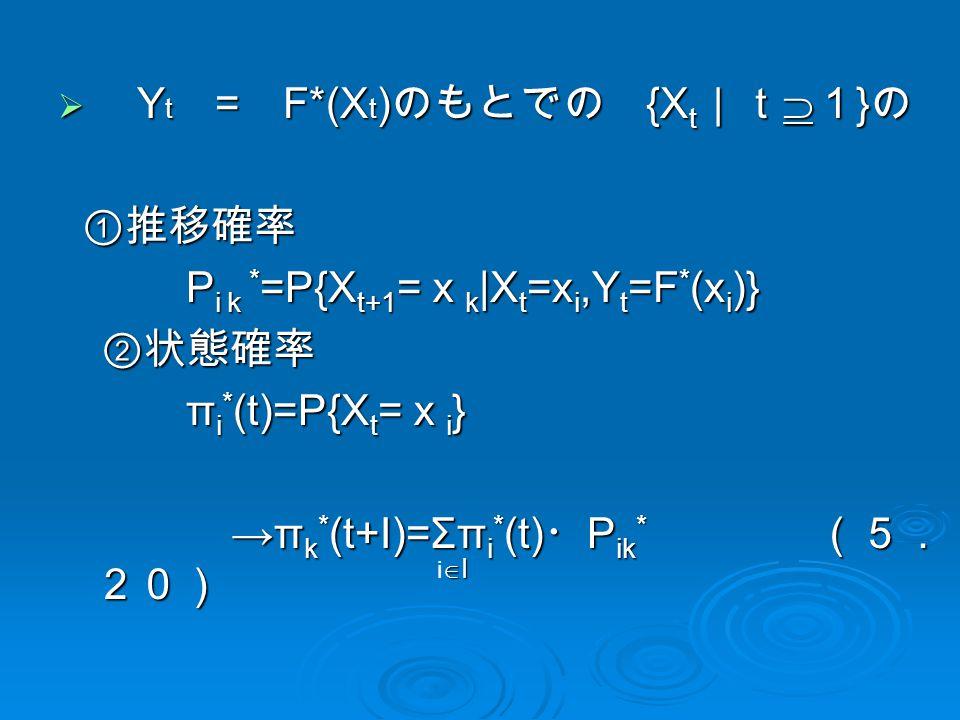  Y t = F*(X t ) のもとでの {X t |t  1 } の ①推移確率 ①推移確率 P i k * =P{X t+1 = x k |X t =x i,Y t =F * (x i )} P i k * =P{X t+1 = x k |X t =x i,Y t =F * (x i )} ②状態確率 π i * (t)=P{X t = x i } π i * (t)=P{X t = x i } →π k * (t+I)=Σπ i * (t) ・ P ik * (5. 20) →π k * (t+I)=Σπ i * (t) ・ P ik * (5. 20) IiIIiI