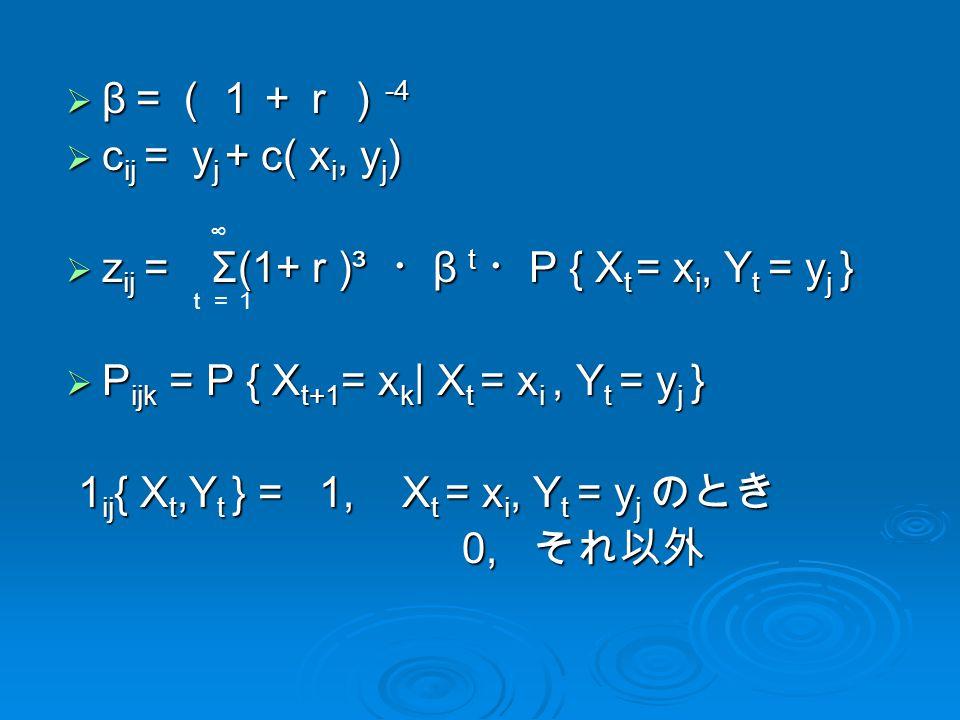  β =(1+r) -4  β =(1+r) -4  c ij = y j + c( x i, y j )  z ij = Σ(1+ r )³ ・ β t ・ P { X t = x i, Y t = y j }  P ijk = P { X t+1 = x k | X t = x i, Y t = y j } 1 ij { X t,Y t } = 1, X t = x i, Y t = y j のとき 1 ij { X t,Y t } = 1, X t = x i, Y t = y j のとき 0, それ以外 0, それ以外 ∞ t=1