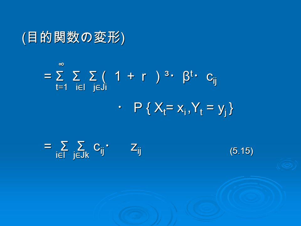 ( 目的関数の変形 ) ( 目的関数の変形 ) = Σ Σ Σ (1+r) ³ ・ β t ・ c ij = Σ Σ Σ (1+r) ³ ・ β t ・ c ij ・ P { X t = x i,Y t = y j } ・ P { X t = x i,Y t = y j } = Σ Σ c ij ・ z ij (5.15) = Σ Σ c ij ・ z ij (5.15) t=1 ∞ i∈Ii∈Ii∈Ii∈I j ∈ Ji i∈Ii∈Ii∈Ii∈I j ∈ Jk