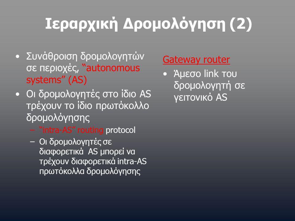 Ιεραρχική Δρομολόγηση (2) Συνάθροιση δρομολογητών σε περιοχές, autonomous systems (AS) Οι δρομολογητές στο ίδιο AS τρέχουν το ίδιο πρωτόκολλο δρομολόγησης – intra-AS routing protocol –Οι δρομολογητές σε διαφορετικά AS μπορεί να τρέχουν διαφορετικά intra-AS πρωτόκολλα δρομολόγησης Gateway router Άμεσο link του δρομολογητή σε γειτονικό AS