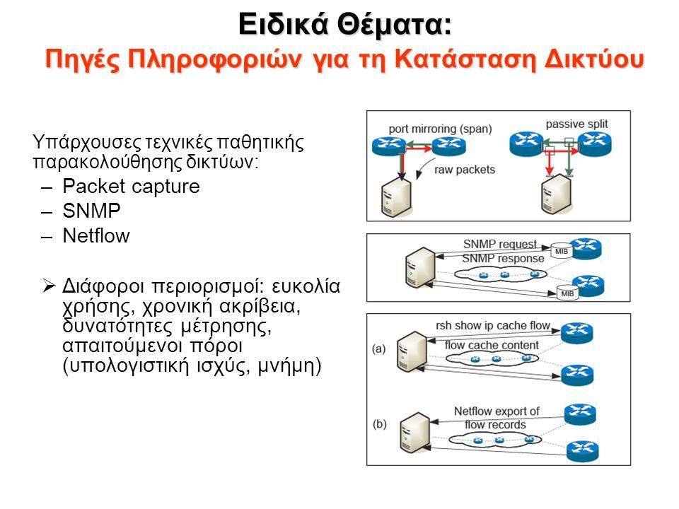 Ειδικά Θέματα: Πηγές Πληροφοριών για τη Κατάσταση Δικτύου Υπάρχουσες τεχνικές παθητικής παρακολούθησης δικτύων: –Packet capture –SNMP –Netflow  Διάφο