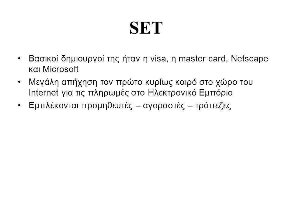 SET Βασικοί δημιουργοί της ήταν η visa, η master card, Netscape και Microsoft Μεγάλη απήχηση τον πρώτο κυρίως καιρό στο χώρο του Internet για τις πληρωμές στο Ηλεκτρονικό Εμπόριο Εμπλέκονται προμηθευτές – αγοραστές – τράπεζες