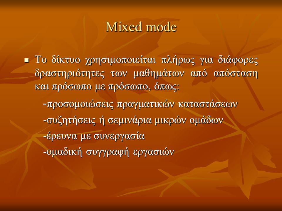 Mixed mode To δίκτυο χρησιμοποιείται πλήρως για διάφορες δραστηριότητες των μαθημάτων από απόσταση και πρόσωπο με πρόσωπο, όπως: To δίκτυο χρησιμοποιε