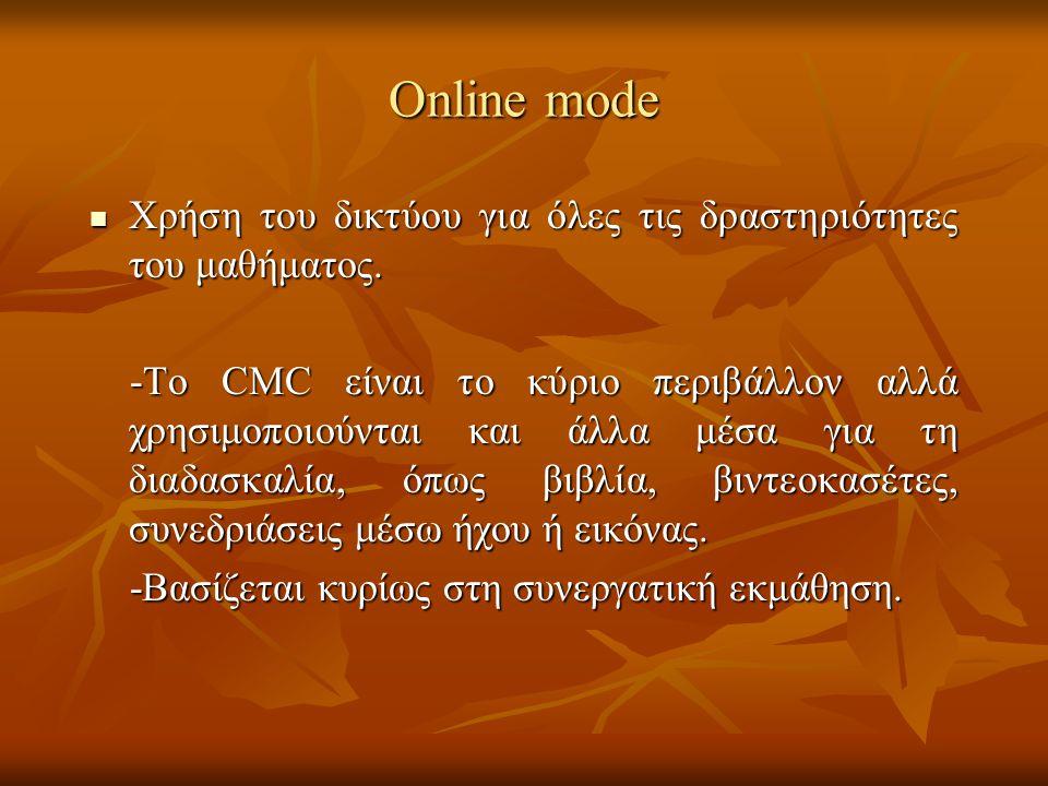 Online mode Xρήση του δικτύου για όλες τις δραστηριότητες του μαθήματος. Xρήση του δικτύου για όλες τις δραστηριότητες του μαθήματος. -To CMC είναι το