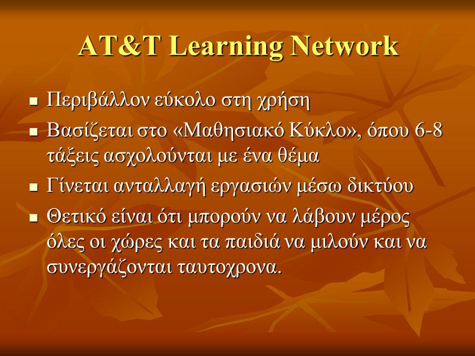 ΑΤ&Τ Learning Network Περιβάλλον εύκολο στη χρήση Περιβάλλον εύκολο στη χρήση Βασίζεται στο «Μαθησιακό Κύκλο», όπου 6-8 τάξεις ασχολούνται με ένα θέμα
