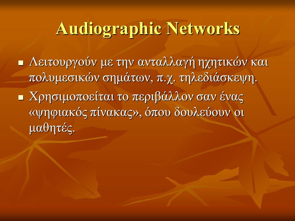 Audiographic Networks Λειτουργούν με την ανταλλαγή ηχητικών και πολυμεσικών σημάτων, π.χ. τηλεδιάσκεψη. Λειτουργούν με την ανταλλαγή ηχητικών και πολυ