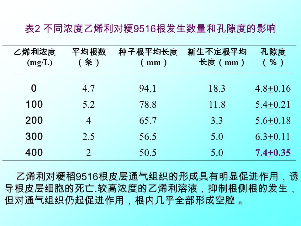 表 2 不同浓度乙烯利对粳 9516 根发生数量和孔隙度的影响 乙烯利浓度 (mg/L) 平均根数 (条) 种子根平均长度 ( mm ) 新生不定根平均 长度( mm ) 孔隙度 (%) 0 4.794.118.34.8+0.16 100 5.278.811.85.4+0.21 200 465.73.35.6+0.18 300 2.556.55.06.3+0.11 400 250.55.07.4+0.35 乙烯利对粳稻 9516 根皮层通气组织的形成具有明显促进作用,诱 导根皮层细胞的死亡.