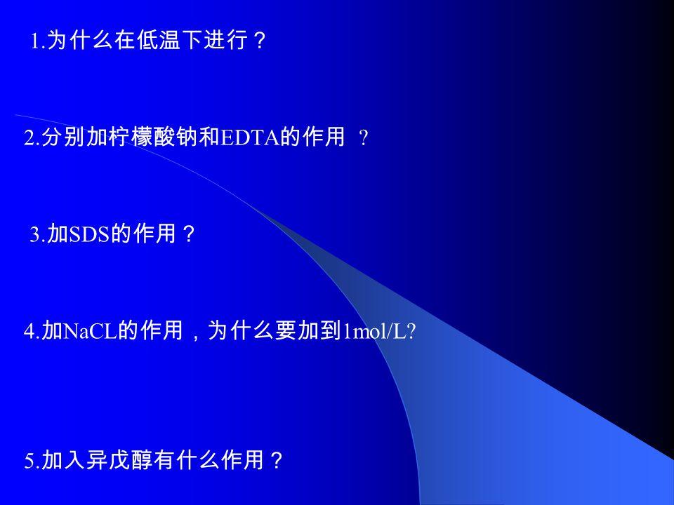 1. 为什么在低温下进行? 2. 分别加柠檬酸钠和 EDTA 的作用 3. 加 SDS 的作用? 4. 加 NaCL 的作用,为什么要加到 1mol/L 5. 加入异戊醇有什么作用?