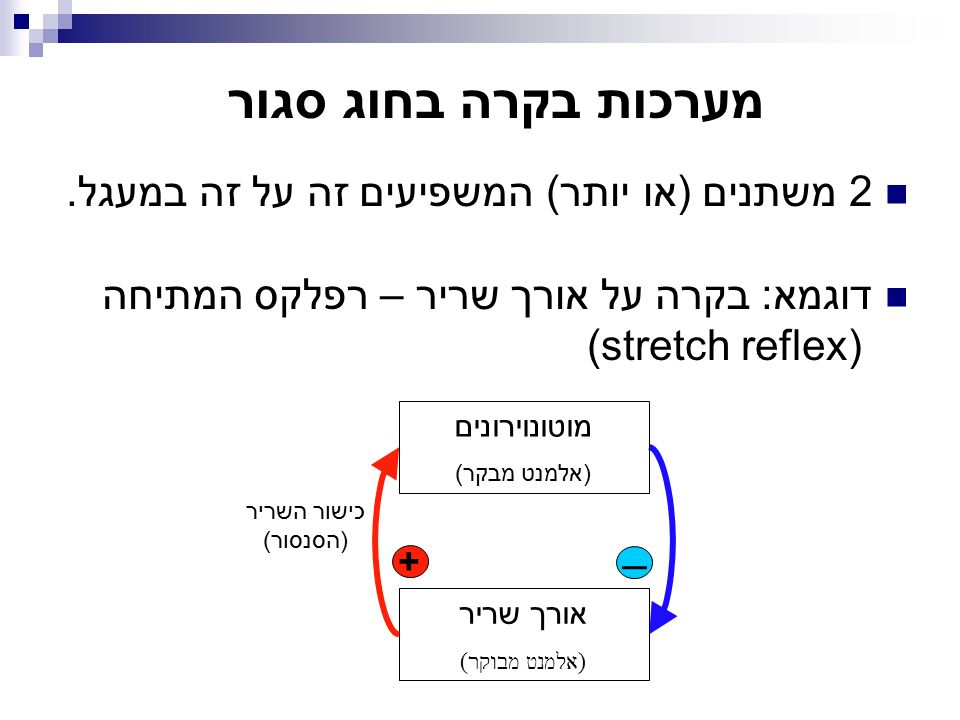 2 משתנים (או יותר) המשפיעים זה על זה במעגל. דוגמא: בקרה על אורך שריר – רפלקס המתיחה (stretch reflex) מערכות בקרה בחוג סגור + מוטונוירונים (אלמנט מבקר)