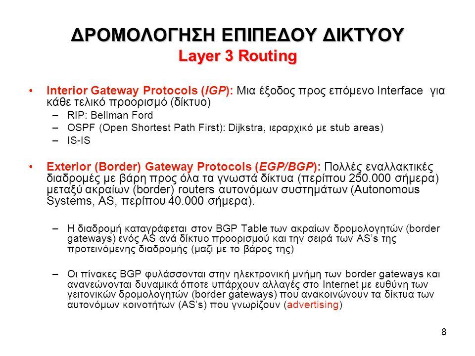 8 ΔΡΟΜΟΛΟΓΗΣΗ ΕΠΙΠΕΔΟΥ ΔΙΚΤΥΟΥ Layer 3 Routing Interior Gateway Protocols (IGP): Μια έξοδος προς επόμενο Interface για κάθε τελικό προορισμό (δίκτυο) –RIP: Bellman Ford –OSPF (Open Shortest Path First): Dijkstra, ιεραρχικό με stub areas) –IS-IS Exterior (Border) Gateway Protocols (EGP/BGP): Πολλές εναλλακτικές διαδρομές με βάρη προς όλα τα γνωστά δίκτυα (περίπου 250.000 σήμερα) μεταξύ ακραίων (border) routers αυτονόμων συστημάτων (Autonomous Systems, AS, περίπου 40.000 σήμερα).