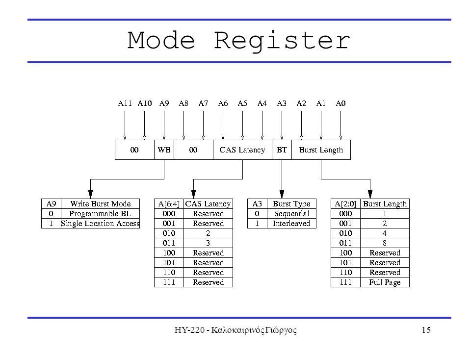 ΗΥ-220 - Καλοκαιρινός Γιώργος15 Mode Register