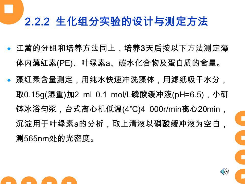 2.2.2 生化组分实验的设计与测定方法  江蓠的分组和培养方法同上,培养 3 天后按以下方法测定藻 体内藻红素 (PE) 、叶绿素 a 、碳水化合物及蛋白质的含量。  藻红素含量测定,用纯水快速冲洗藻体,用滤纸吸干水分, 取 0.15g( 湿重 ) 加 2 ml 0.1 mol/L 磷酸缓冲液 (pH=6.5) ,小研 钵冰浴匀浆,台式离心机低温 (4 ℃ )4 000r/min 离心 20min , 沉淀用于叶绿素 a 的分析,取上清液以磷酸缓冲液为空白, 测 565nm 处的光密度。