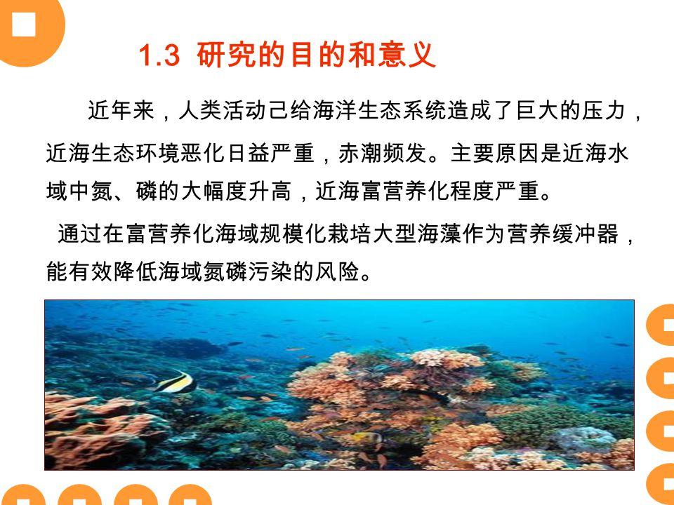近年来,人类活动己给海洋生态系统造成了巨大的压力, 近海生态环境恶化日益严重,赤潮频发。主要原因是近海水 域中氮、磷的大幅度升高,近海富营养化程度严重。 通过在富营养化海域规模化栽培大型海藻作为营养缓冲器, 能有效降低海域氮磷污染的风险。 1.3 研究的目的和意义