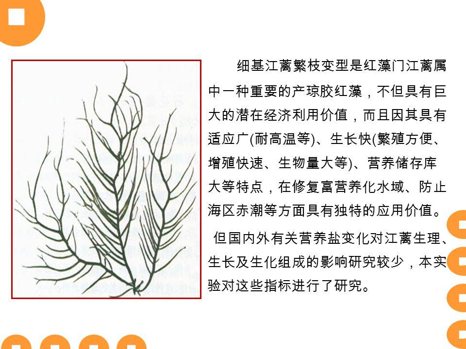 细基江蓠繁枝变型是红藻门江蓠属 中一种重要的产琼胶红藻,不但具有巨 大的潜在经济利用价值,而且因其具有 适应广 ( 耐高温等 ) 、生长快 ( 繁殖方便、 增殖快速、生物量大等 ) 、营养储存库 大等特点,在修复富营养化水域、防止 海区赤潮等方面具有独特的应用价值。 但国内外有关营养盐变化对江蓠生理