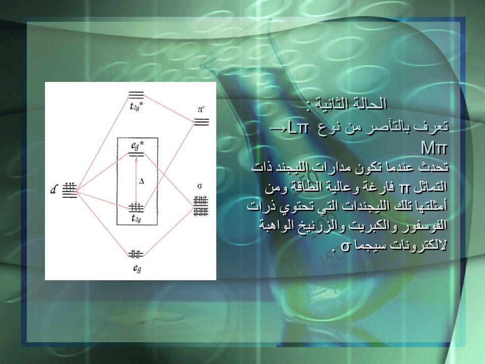 الحالة الثانية : تعرف بالتآصر من نوع Lπ → Mπ تحدث عندما تكون مدارات الليجند ذات التماثل π فارغة وعالية الطاقة ومن أمثلتها تلك الليجندات التي تحتوي ذرا